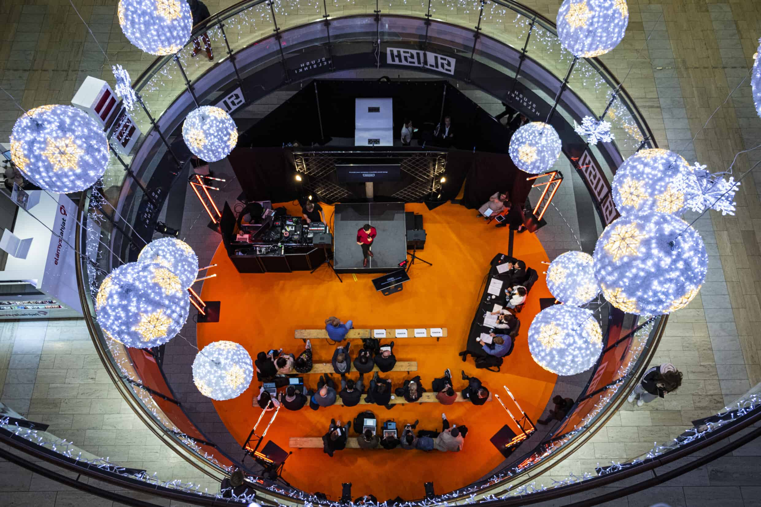 View of the stage and audience from above.